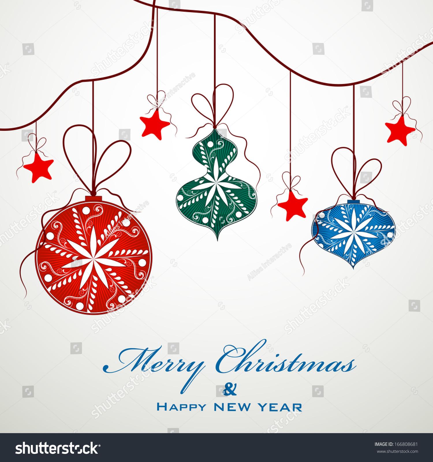 Merry christmas celebration greeting card invitation stock photo merry christmas celebration greeting card or invitation card with hanging colorful xmas balls on grey background stopboris Image collections