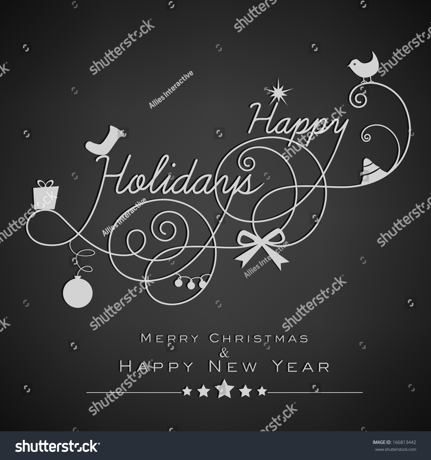 Stylish happy holidays text merry christmas stock vector royalty stylish happy holidays text merry christmas and happy new year 2014 celebration greeting card or m4hsunfo
