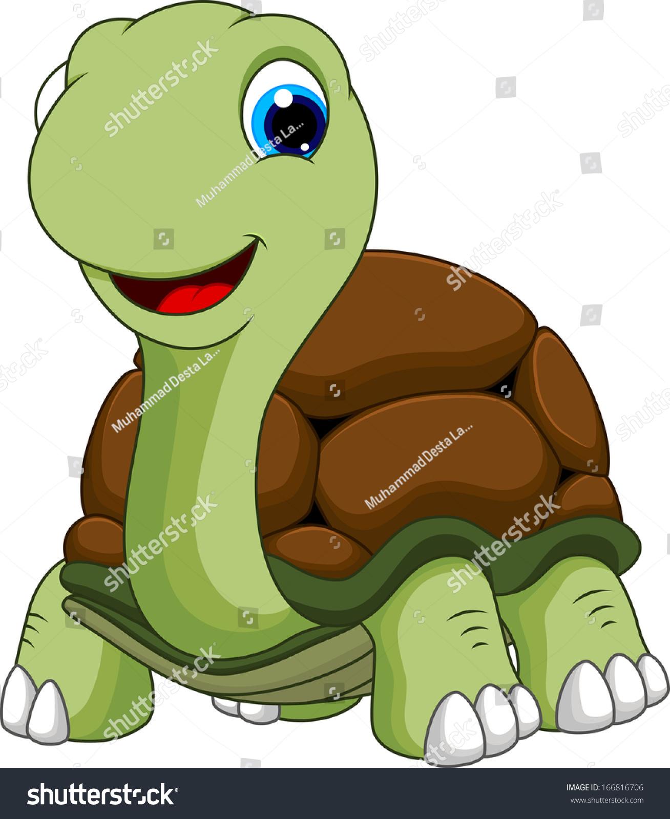 cute turtle cartoon stock vector 166816706