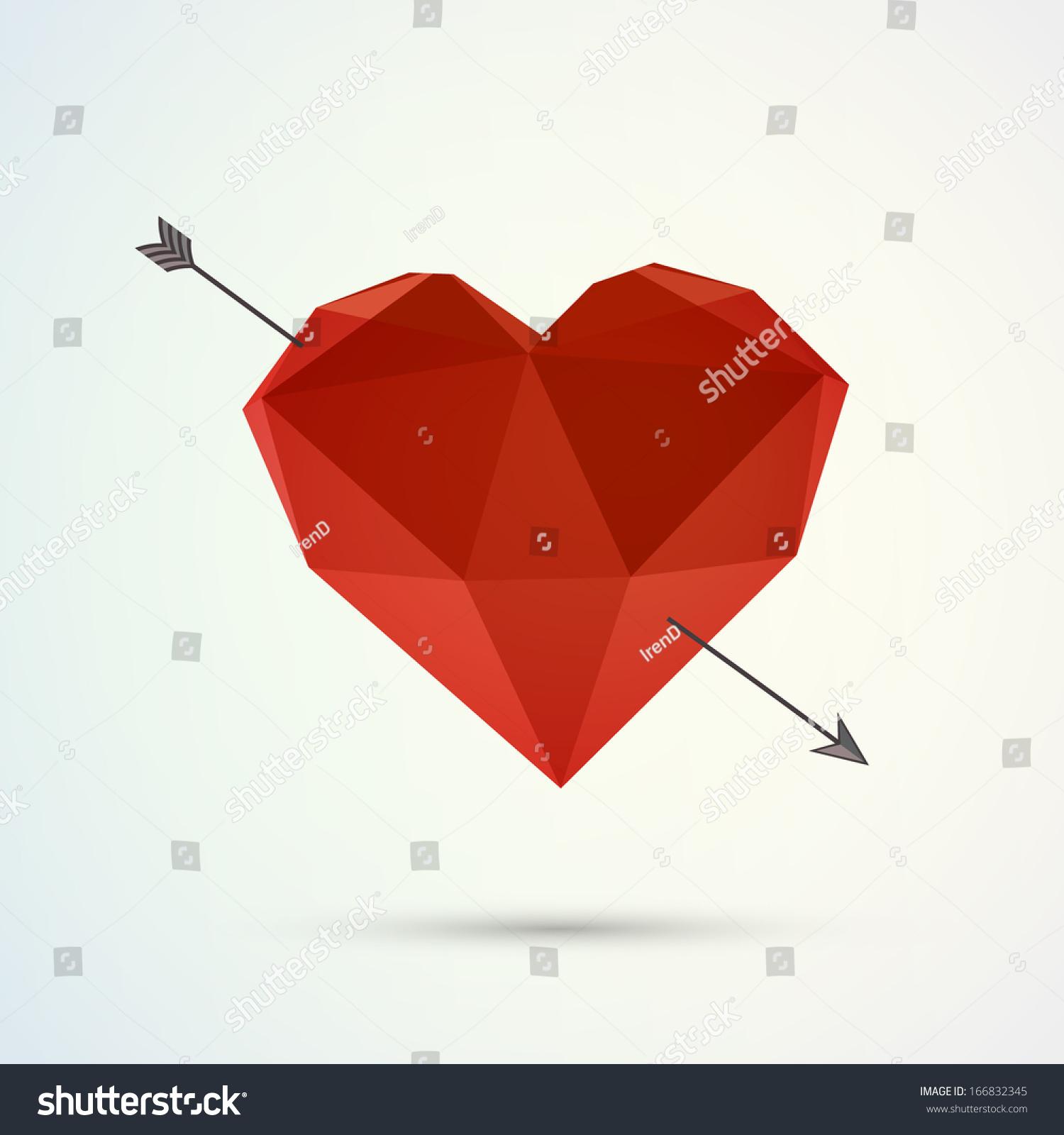 Hover 3d origami heart design arrow stock vector 166832345 hover 3d origami heart design with arrow and shadow eps 10 vector illustration jeuxipadfo Gallery