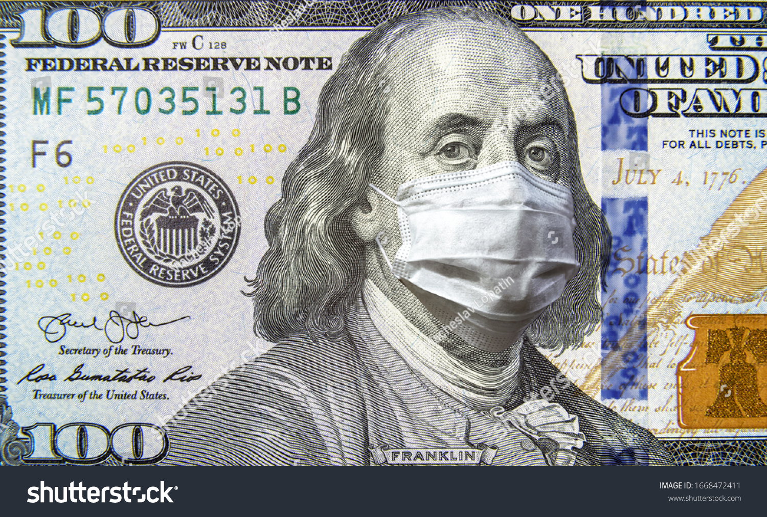 COVID-19 coronavirus in USA, 100 dollar money bill with face mask. Coronavirus affects global stock market. World economy hit by corona virus outbreak and pandemic fears. Crisis and finance concept. #1668472411