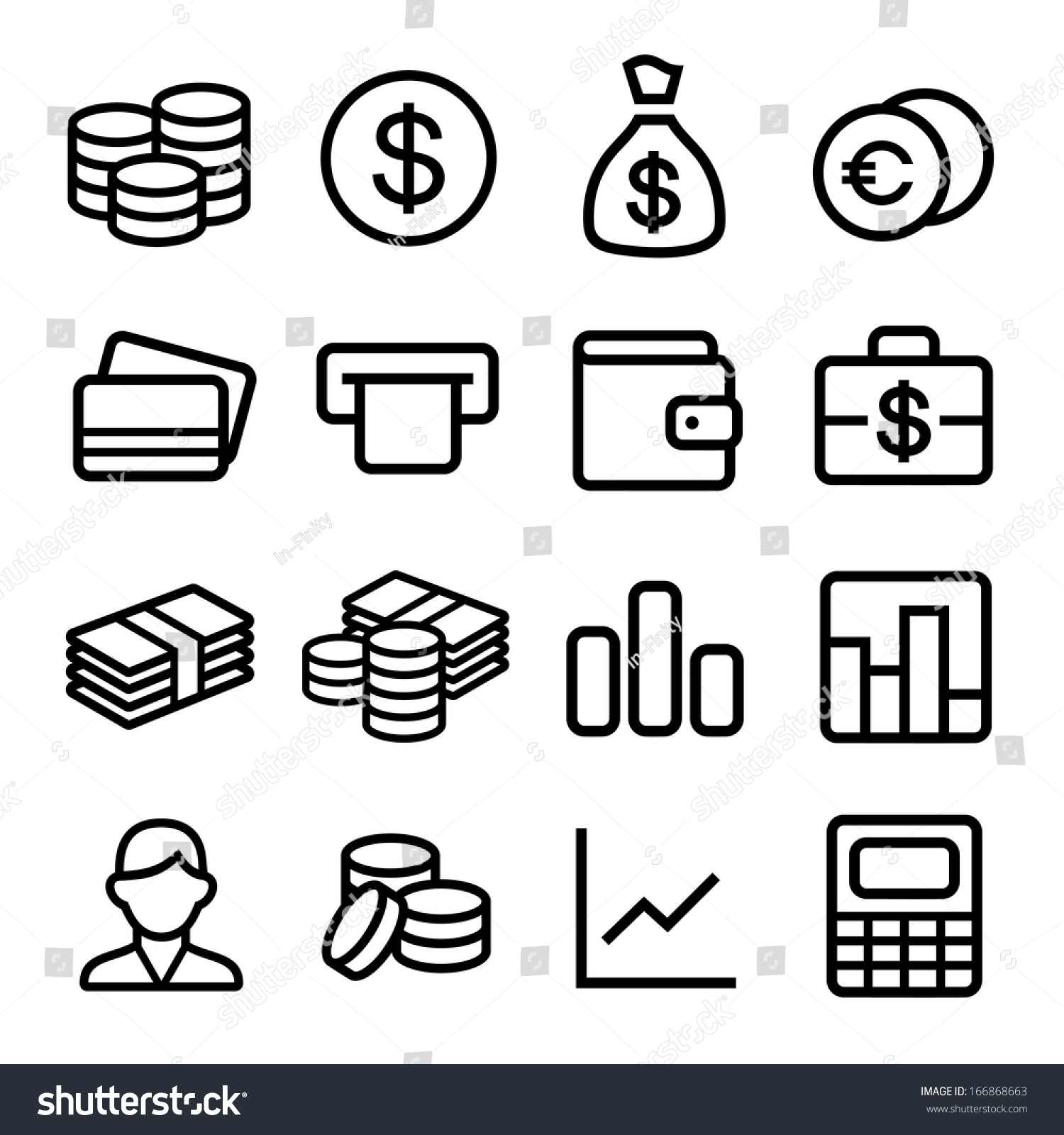 Line Drawing Money : Money coin icon set ios style stock vector