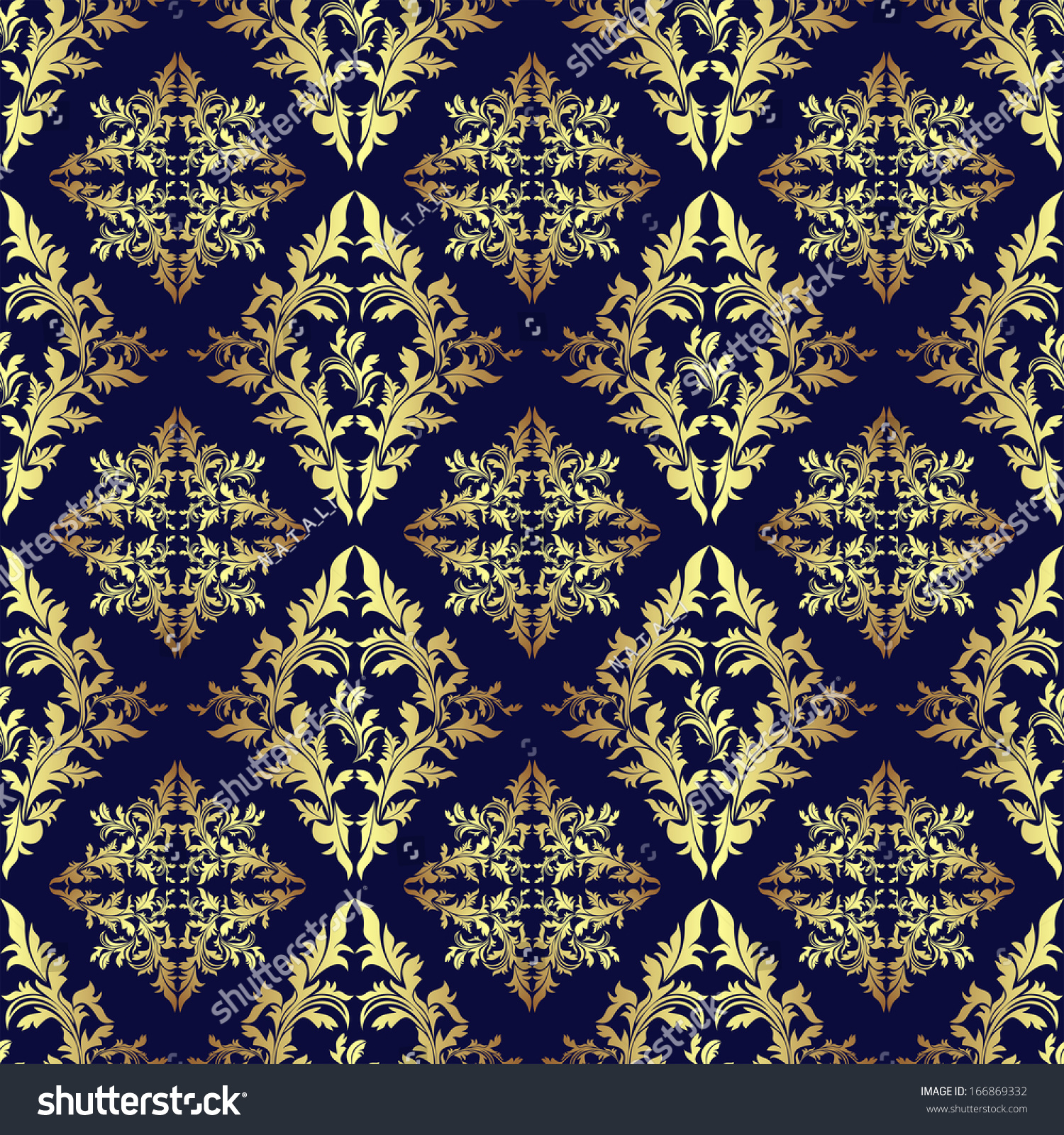 Luxury seamless ornamental wallpaper gold on dark blue for Dark blue and gold wallpaper