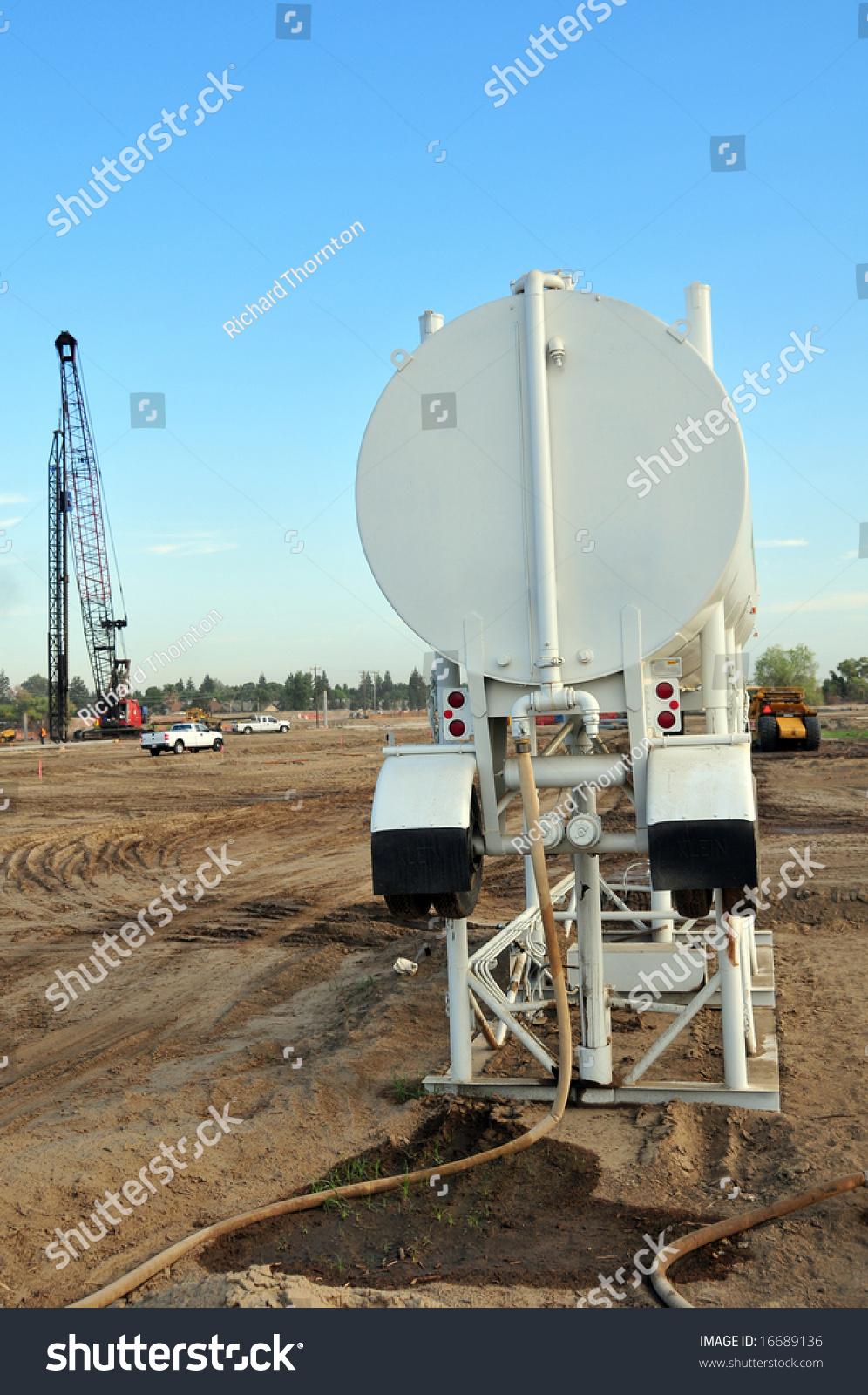 Water Trailer Elevated On Stand Construction Stock Photo