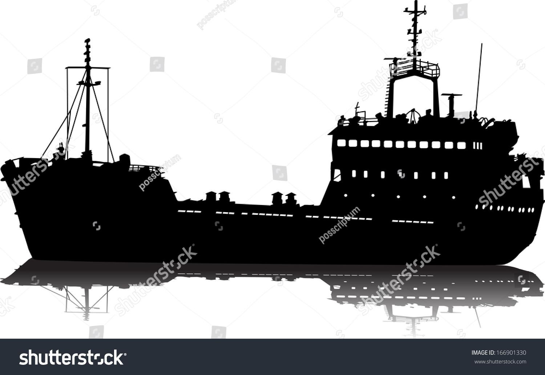 Vector Illustration Silhouette Sea Cargo Ship Stock Vector ...