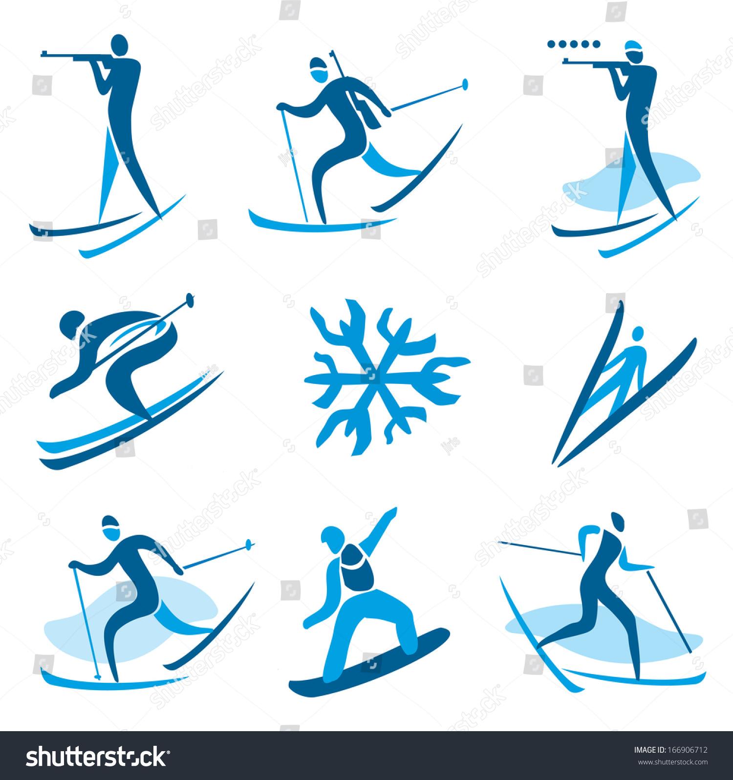 Winter Sport Symbols Icons Symbols Winter Stock Vector Royalty Free
