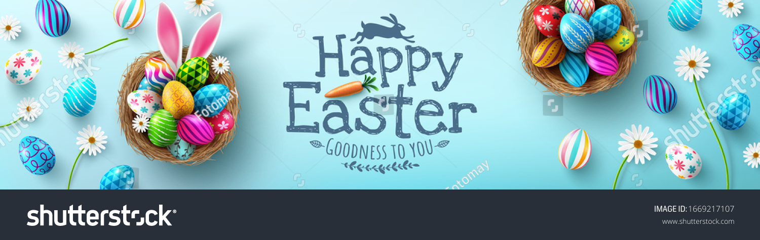 Easter poster and banner template with Easter eggs in the nest on light green background.Greetings and presents for Easter Day in flat lay styling.Promotion and shopping template for Easter #1669217107