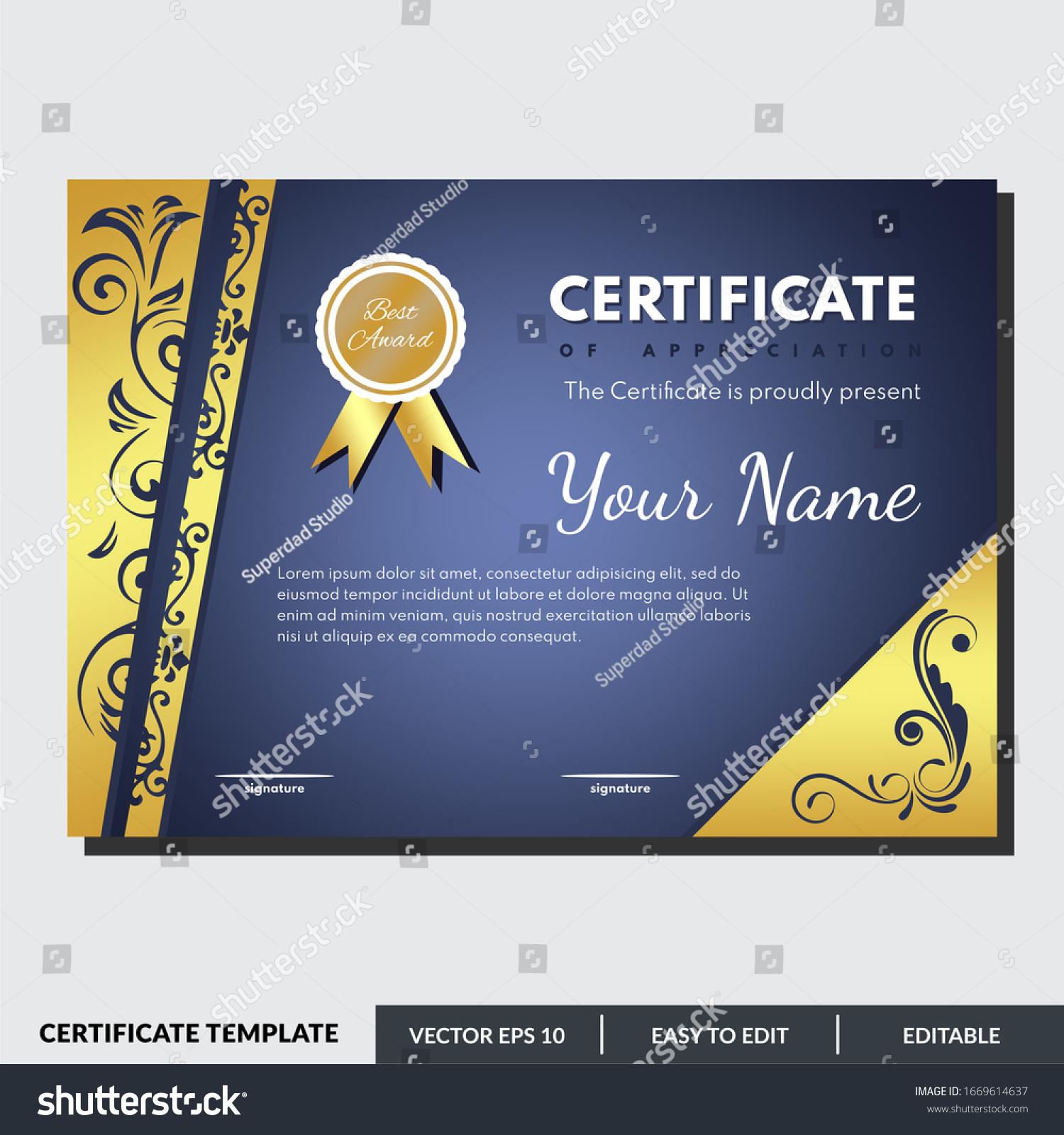 Modern Certificate Template Appreciation Award Creative Stock With Award Certificate Design Template