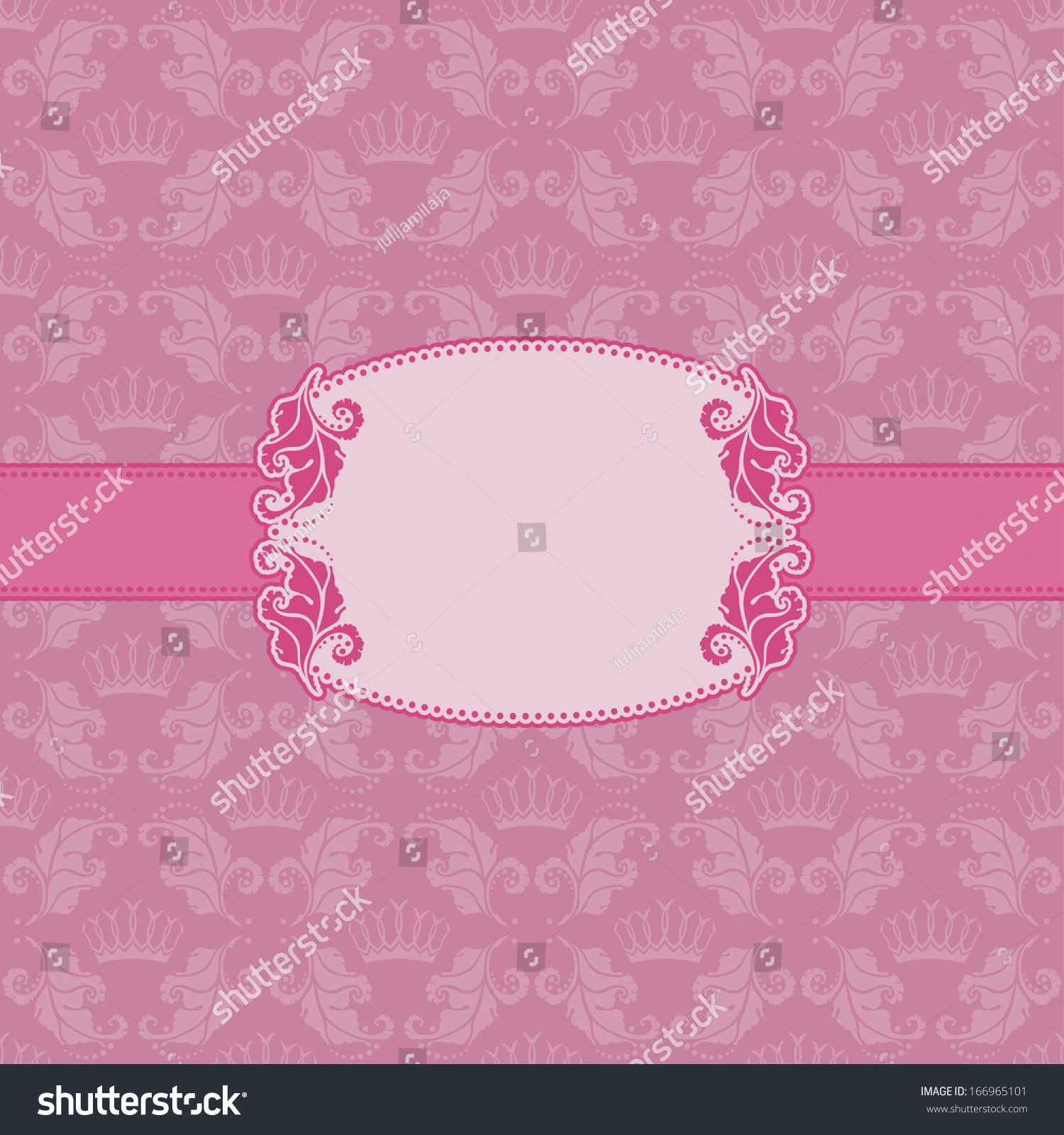 Elegant royal frame with crown vector colourbox - Vector Template Frame Design For Greeting Card Background Seamless Pattern