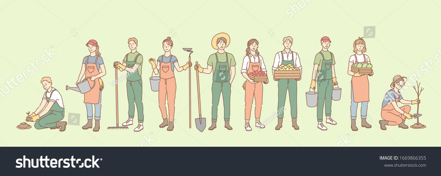 Farming, rural life, gardening, agriculture set concept. Group young of people, men, women, agricultural workers together in village farm. Planting trees, seeding. Rural lifestyle. Simple vector #1669866355
