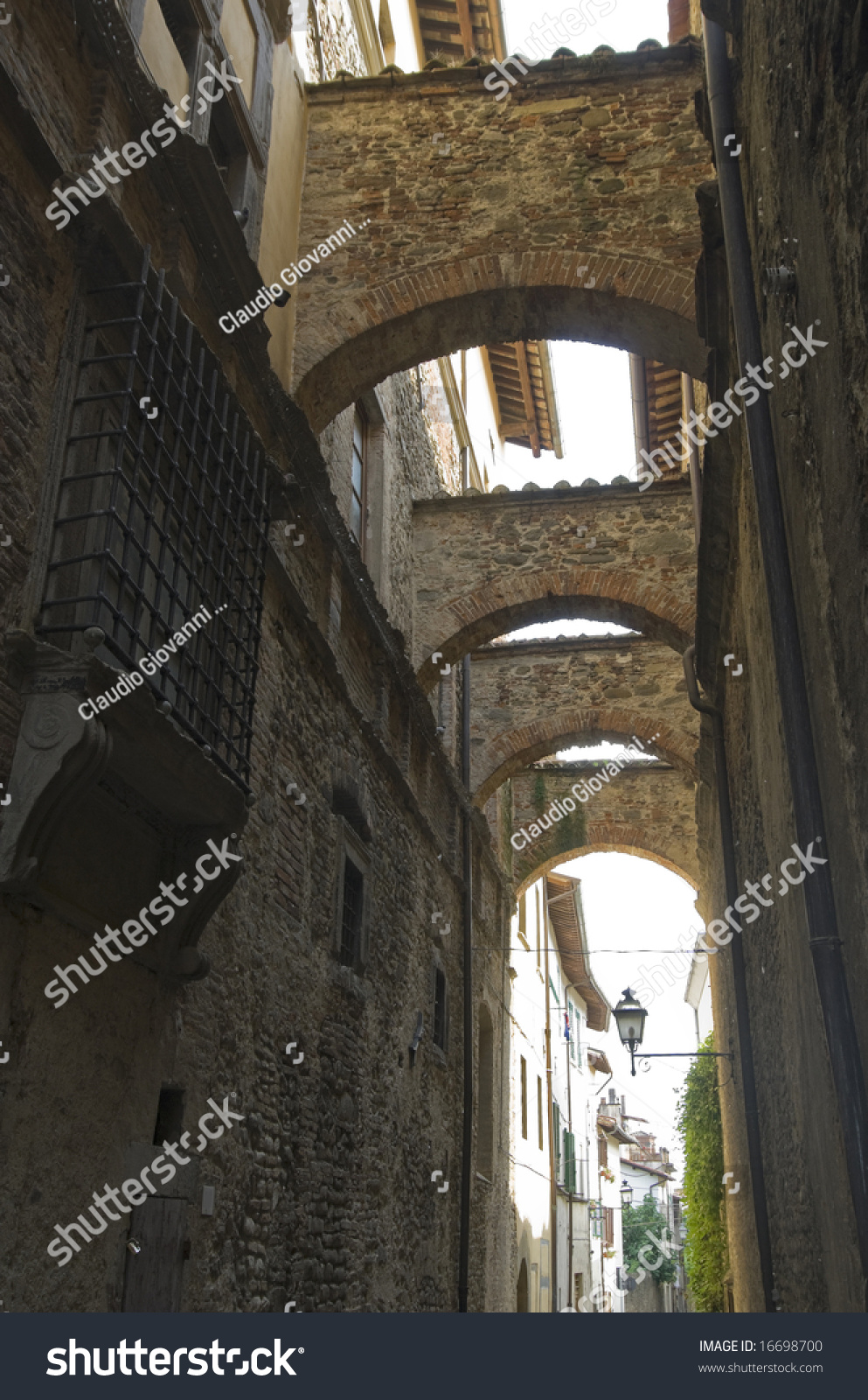 Sansepolcro Italy  city photos gallery : Sansepolcro Arezzo, Tuscany, Italy Old Street With Arches Stock ...