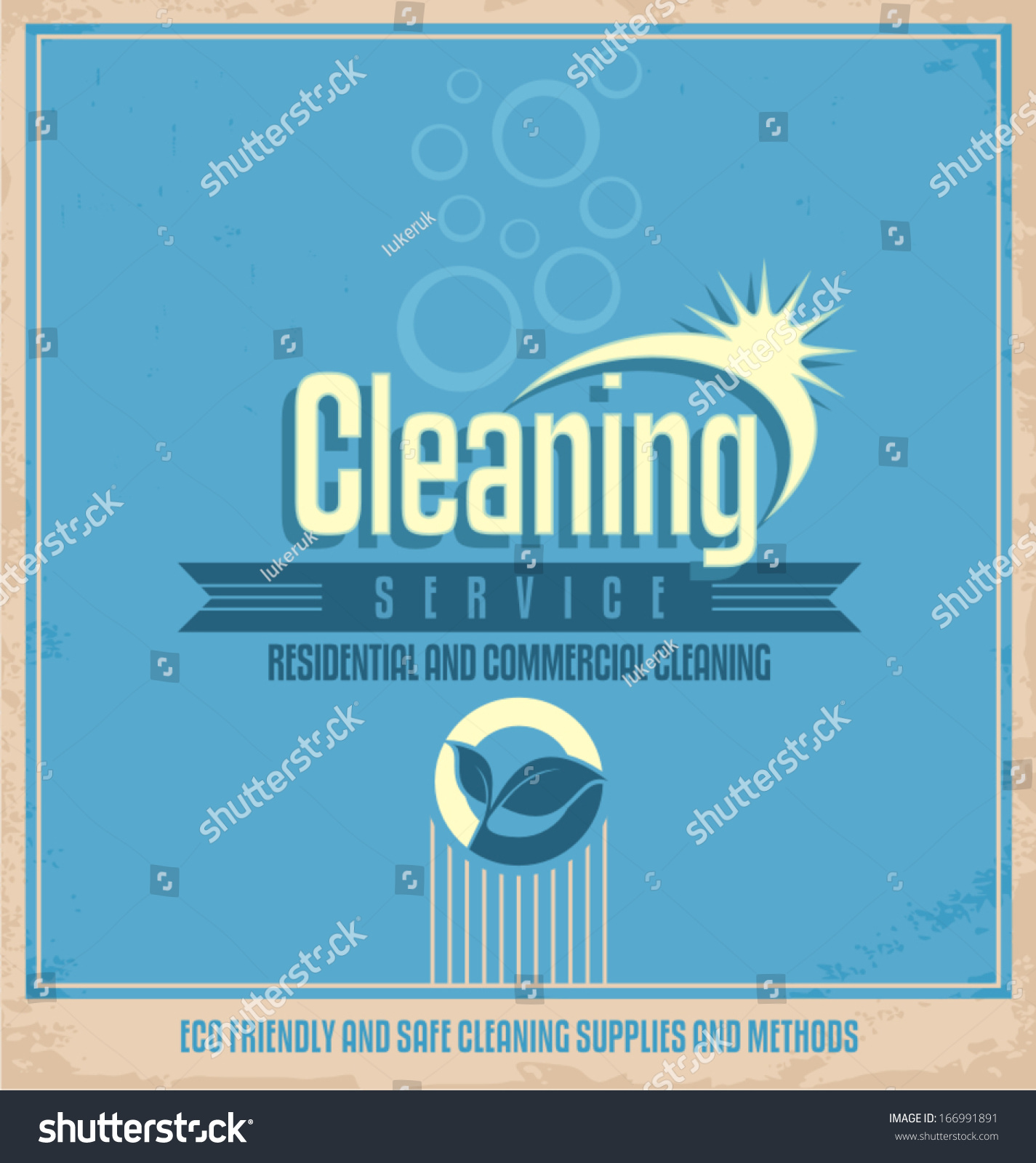 Poster design company - Retro Vector Poster Template For Professional Residential And Commercial Cleaning Service Company