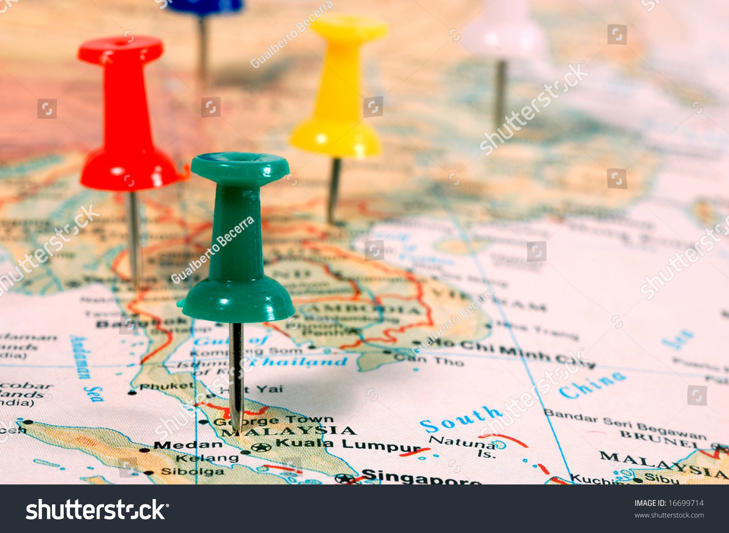 Map south east asia pins showing stock photo 16699714 shutterstock map of south east asia with pins showing cities locations gumiabroncs Images