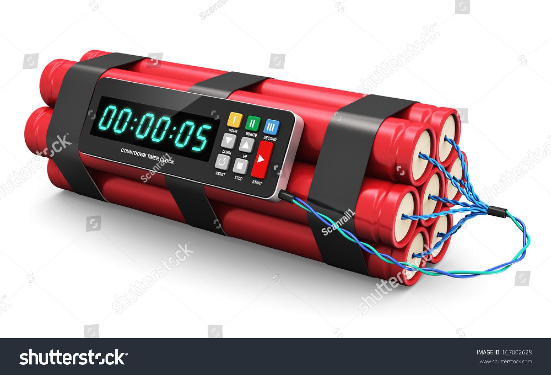 Tnt Time Bomb Explosive Digital Countdown Stock