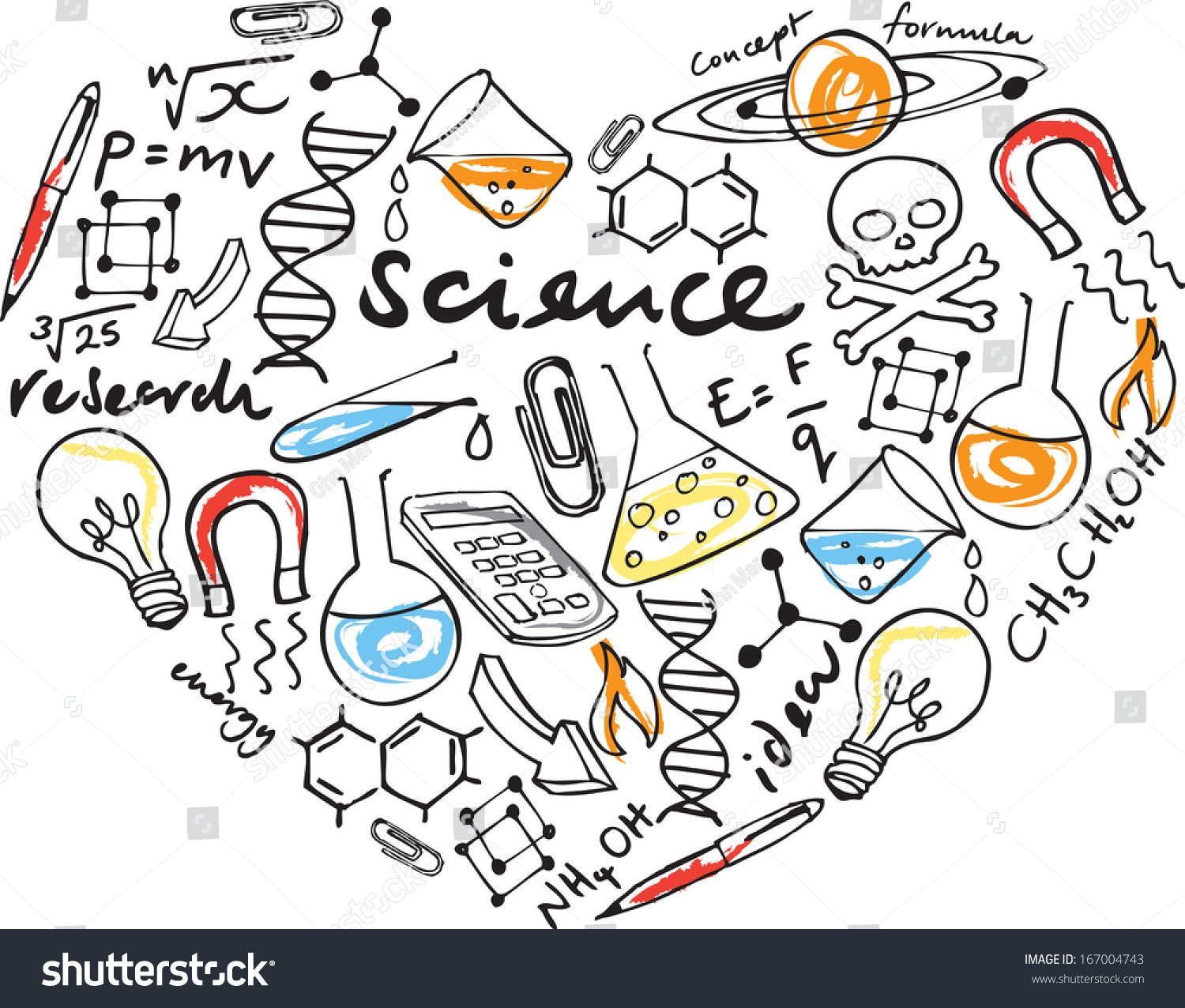 Love Science Various Science Icons Arranged Stock Vector
