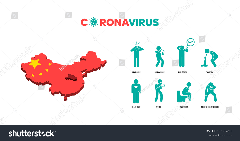 Coronavirus Symptoms Infographic Illustration Headache Runny Stock Vector Royalty Free 1670284351