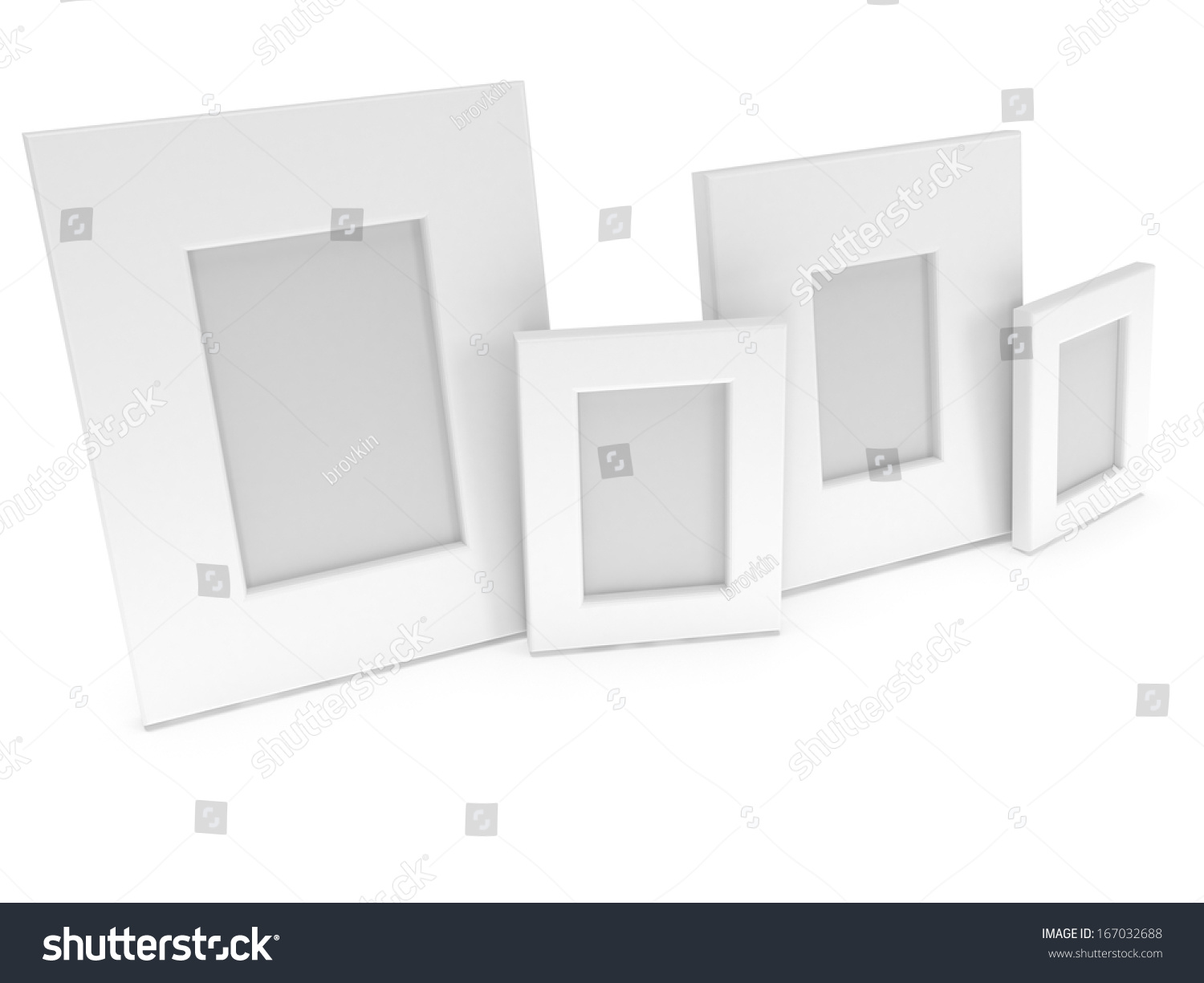empty blank photo frames on white stock illustration 167032688 shutterstock. Black Bedroom Furniture Sets. Home Design Ideas