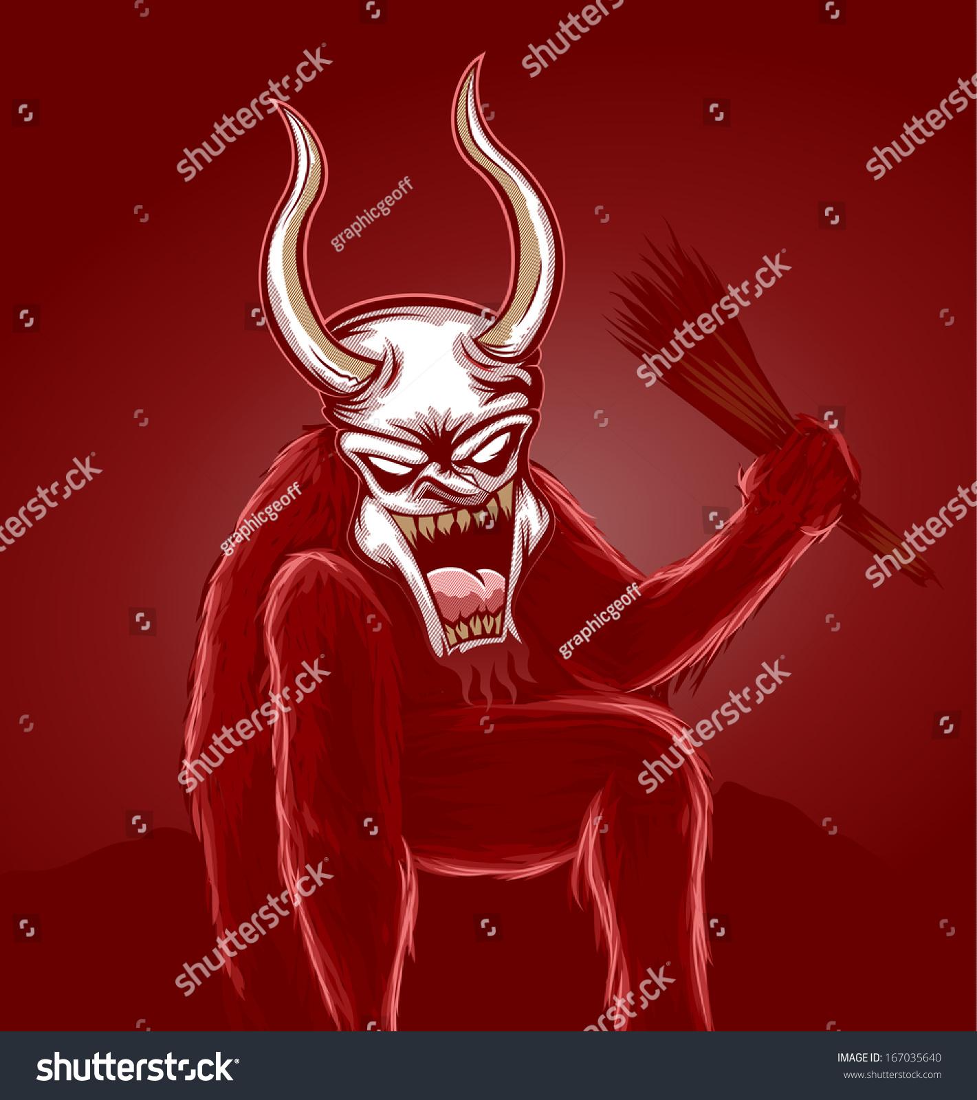Scary Krampus Illustration Red Stock Illustration Royalty Free