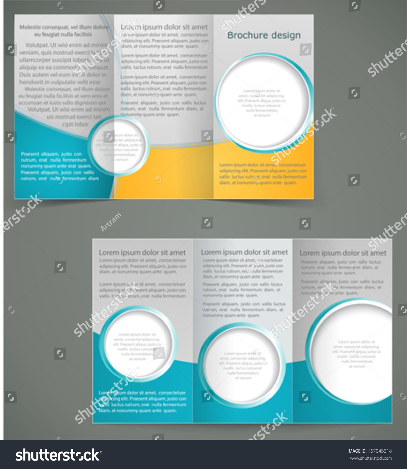 Vector Green Brochure Layout Design Yellow Vector 167045318 – Three Fold Flyer Template