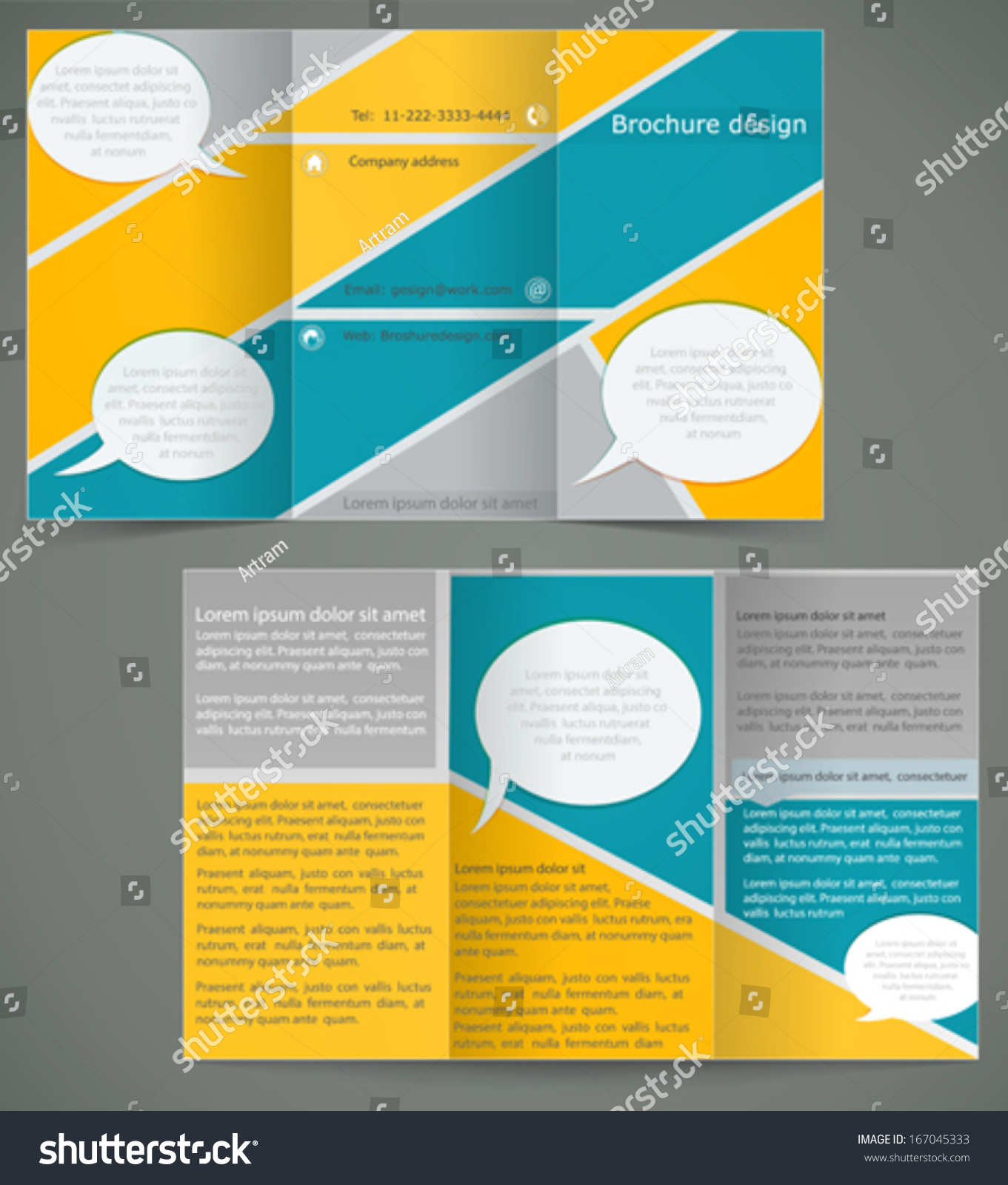 Vector Green Brochure Layout Design With Yellow Elements Business – Three Fold Flyer Template