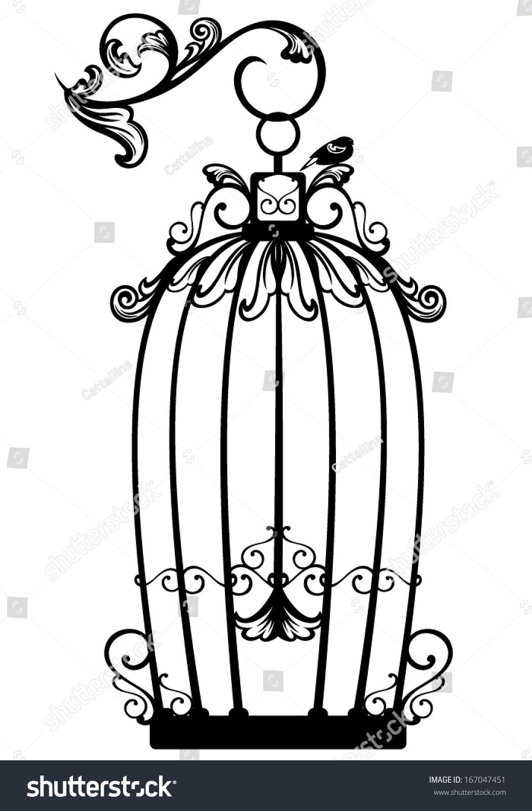 vintage looking open birdcage free bird stock vector 167047451 rh shutterstock com