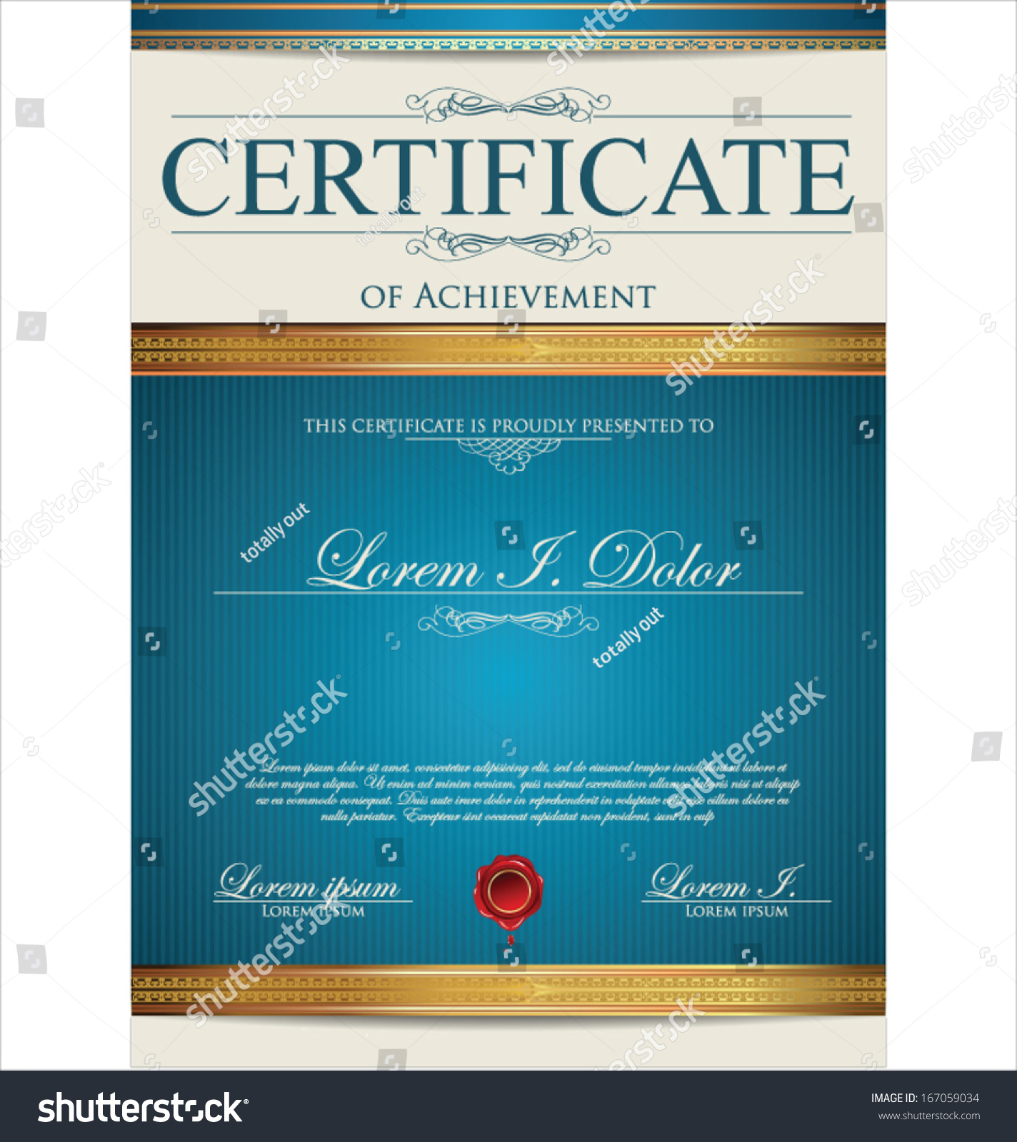 Blue certificate template stock vector 167059034 shutterstock blue certificate template xflitez Images