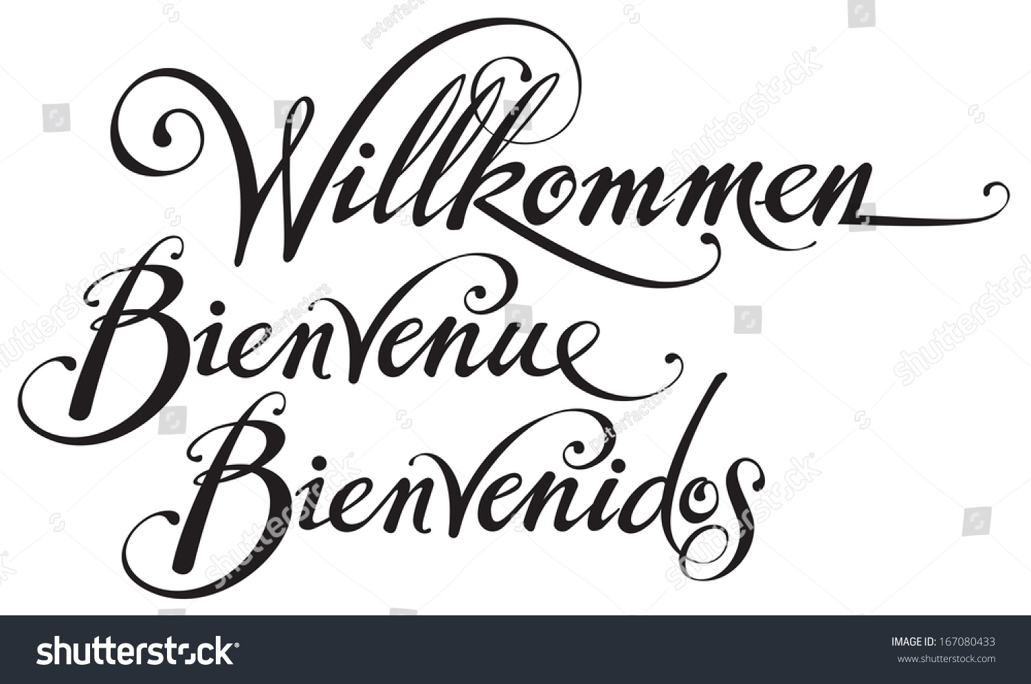 welcome in german french spanish stock vector