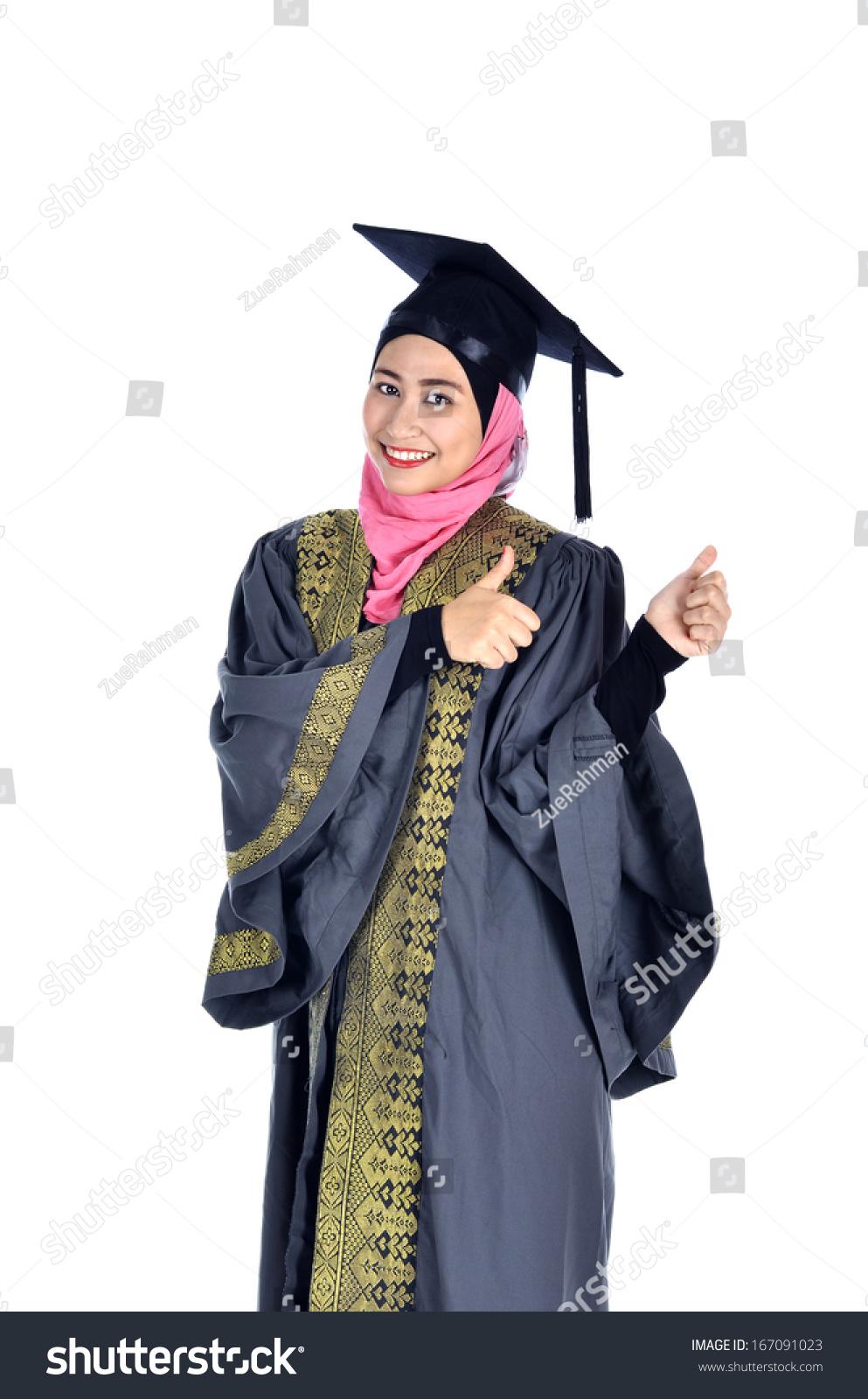 Beautiful Young Asian Muslim Graduate Student Stock Photo (Royalty ...