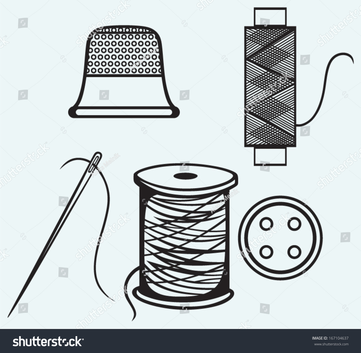 Spool Threads Sewing Button Thimble Isolated Stock Vector (Royalty ...