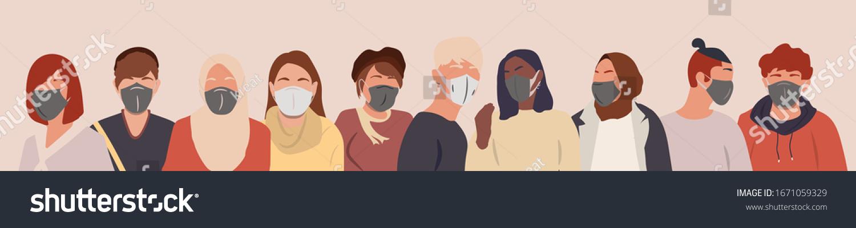 Grupo de personas usando máscaras médicas para prevenir enfermedades, gripe, contaminación del aire.Coronavirus en China. Ilustración vectorial en un estilo plano.