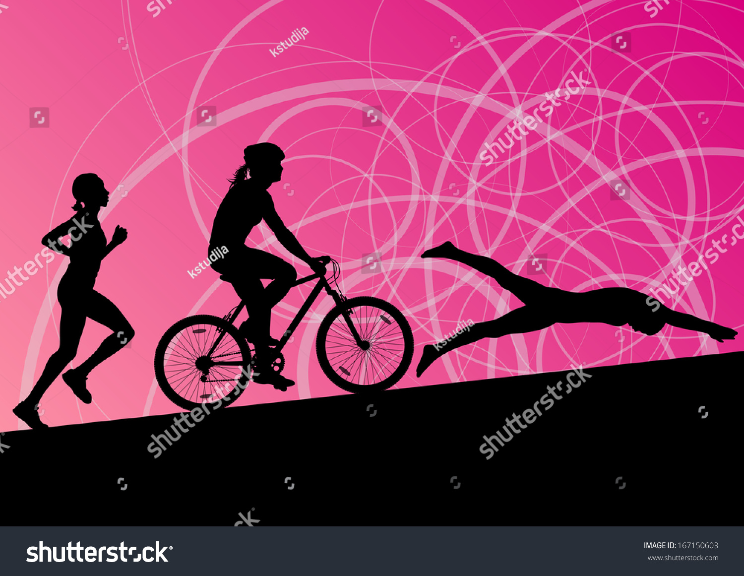 Active Young Women Volleyball Player Sport Stock Vector: Triathlon Marathon Active Young Women Swimming Stock
