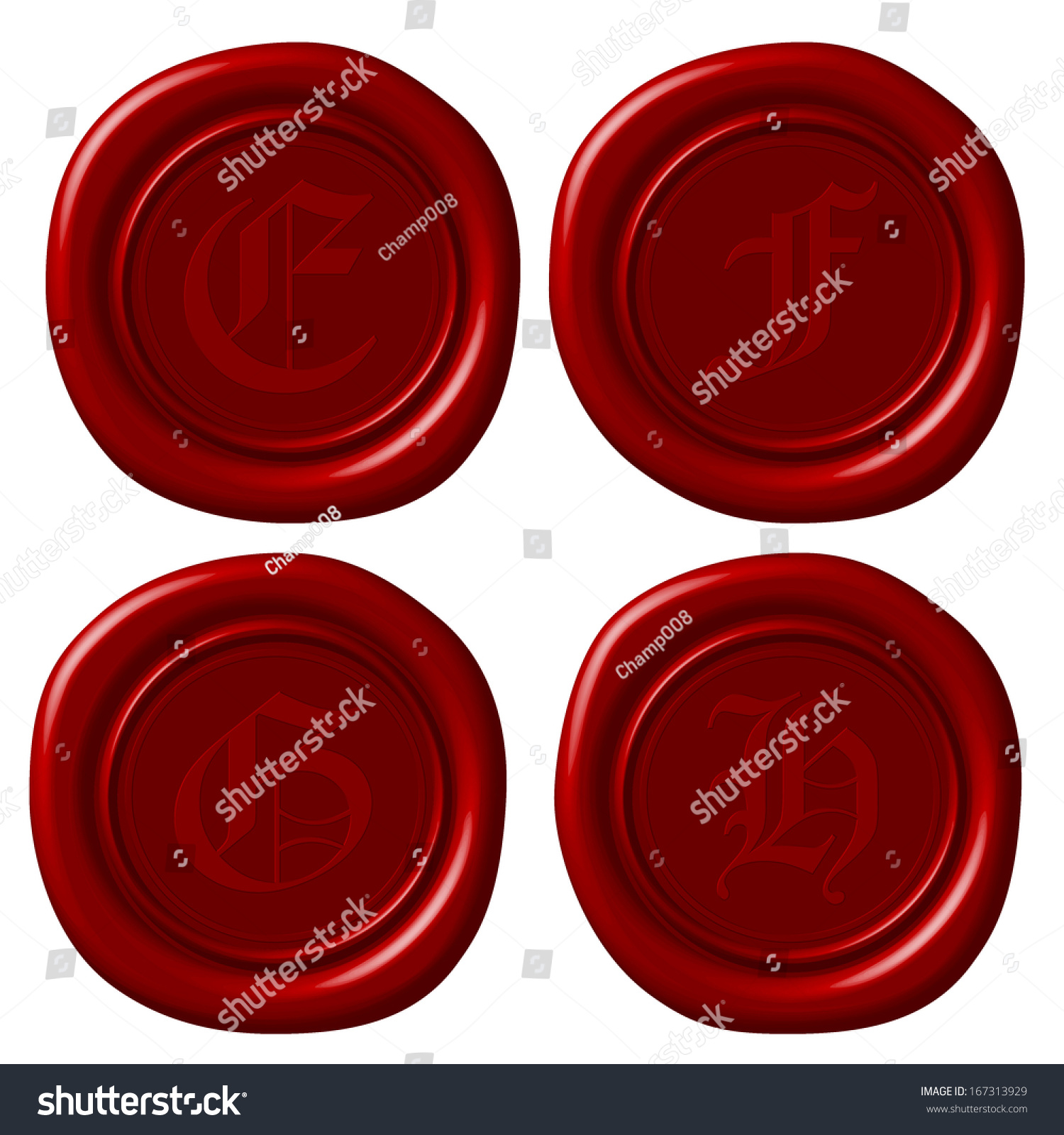 Vector Of Old English Alphabet Abcd Letters On Sealing Wax Ez