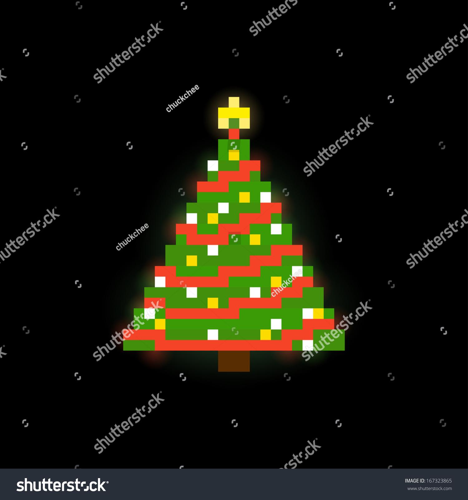 Pixel Art Christmas Tree On Dark Stock Vector 167323865 - Shutterstock