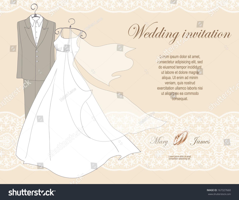 Wedding Invitation Decorated Wedding Dress Suit Stock Vector ...