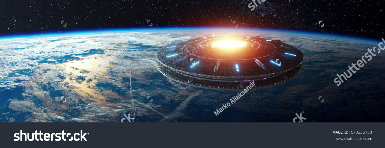 UFO, an alien plate hovered motionless in space against the background of the earth. alien invasion, spacecraft of the humanoids. Some elements of the image provided by NASA mixed medium #1673335153