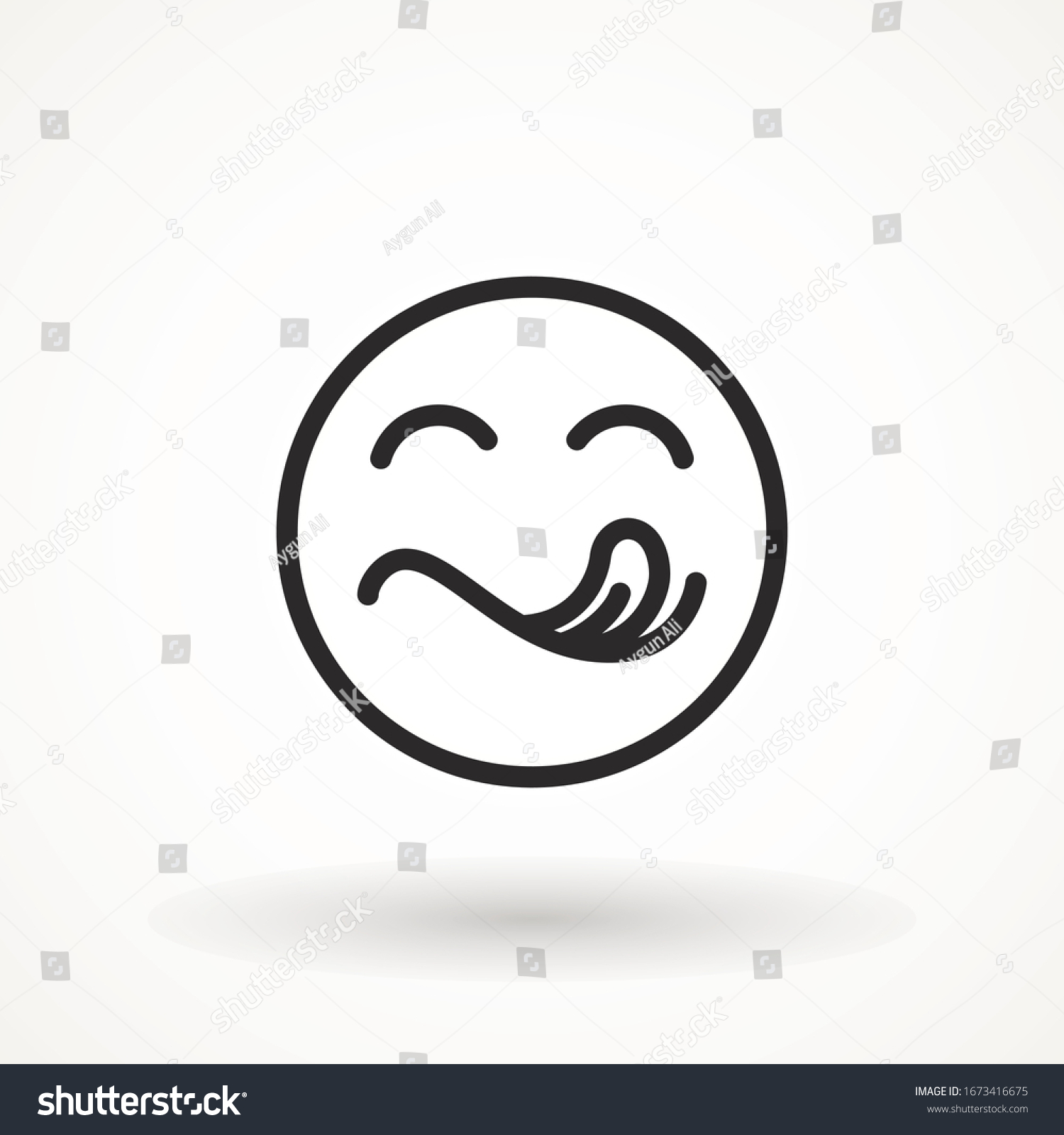 Yummy smile emoticon with tongue lick mouth icon. Tasty food eating emoji face. Delicious cartoon with saliva drops on white background. Smile face line design. Savory gourmet. Yummy vector #1673416675