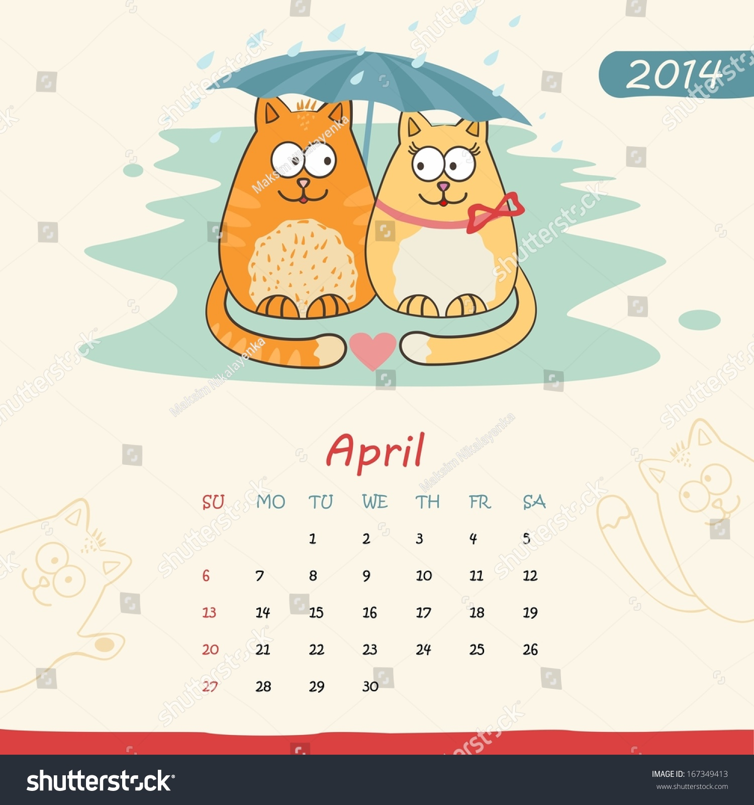 Calendar April Vector : Calendar monthly template with cats for