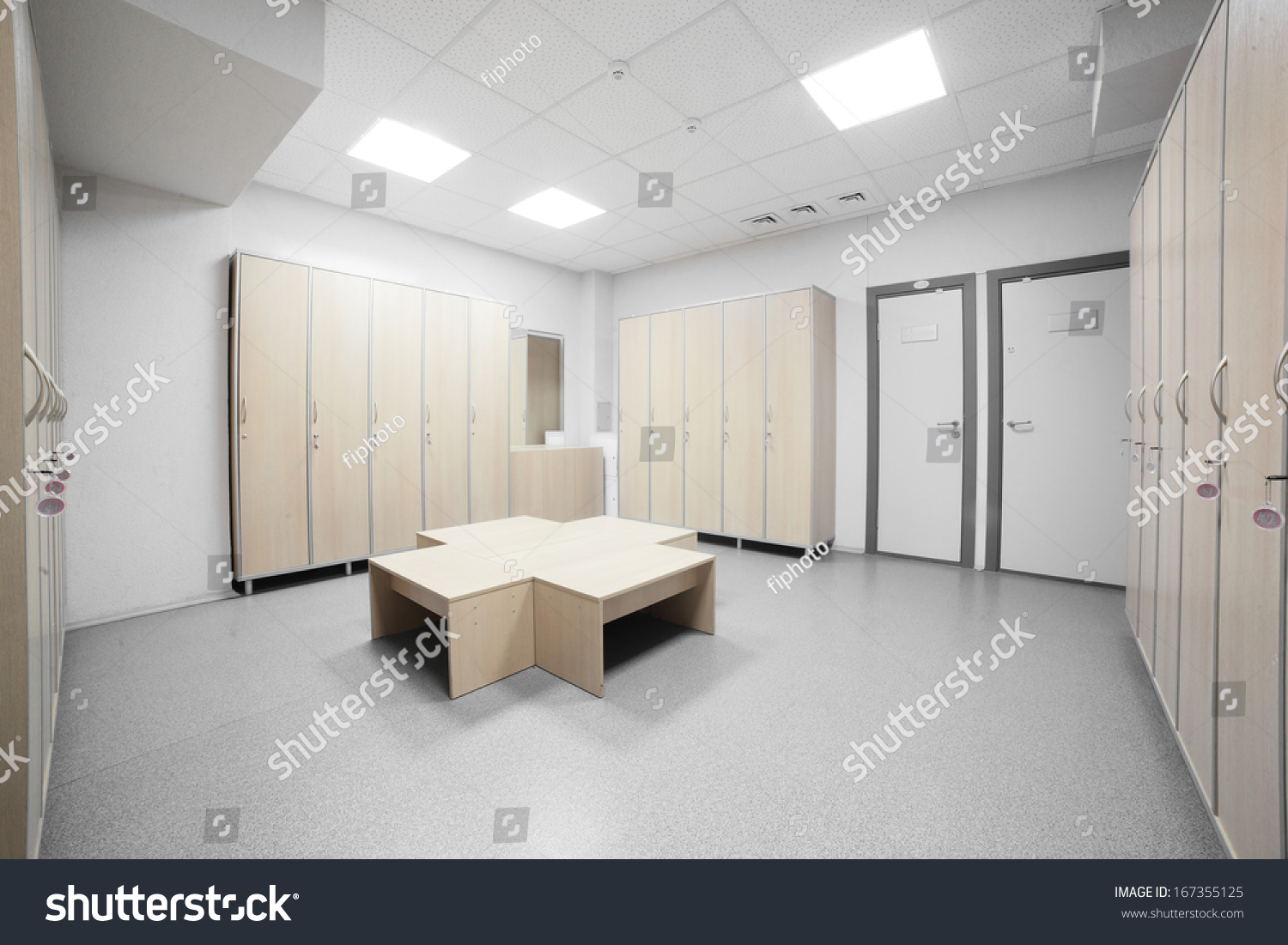 Nice interior changing room gym stock photo