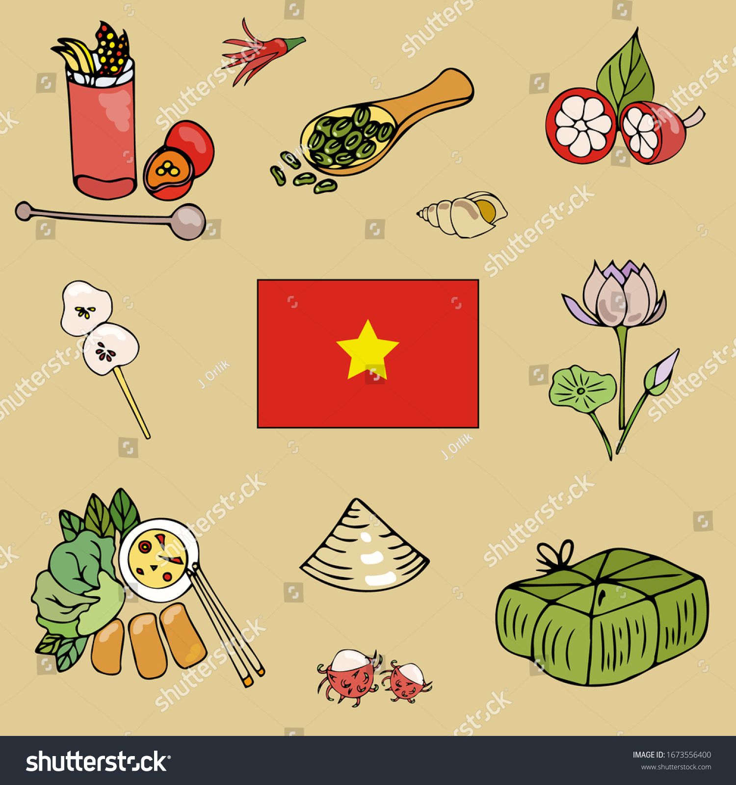 Pretty Icons Connected Vietnam Culture Traditions Stock Vector Royalty Free 1673556400