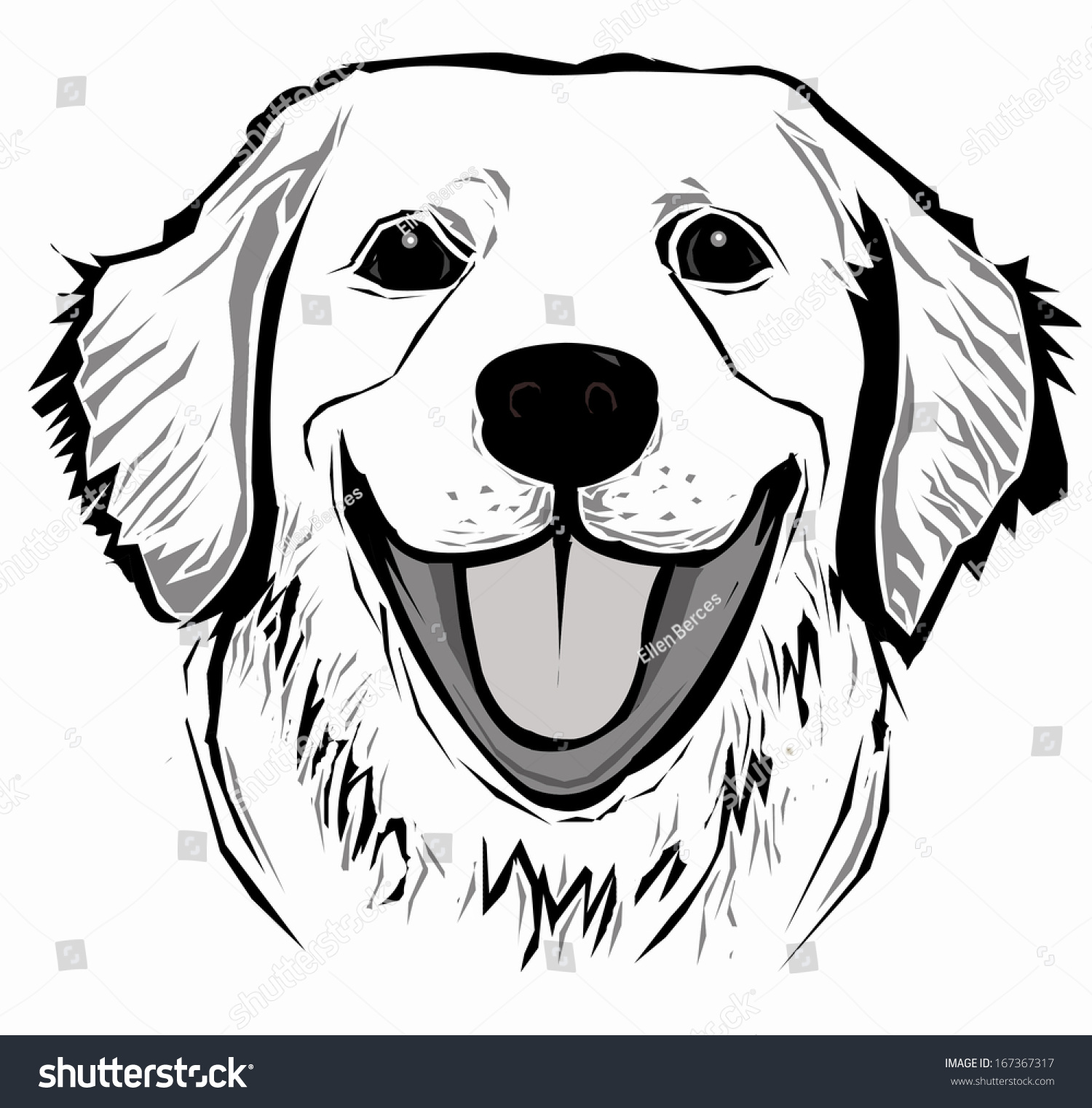 Line Drawing Of A Dog Face : Dog face stock vector shutterstock
