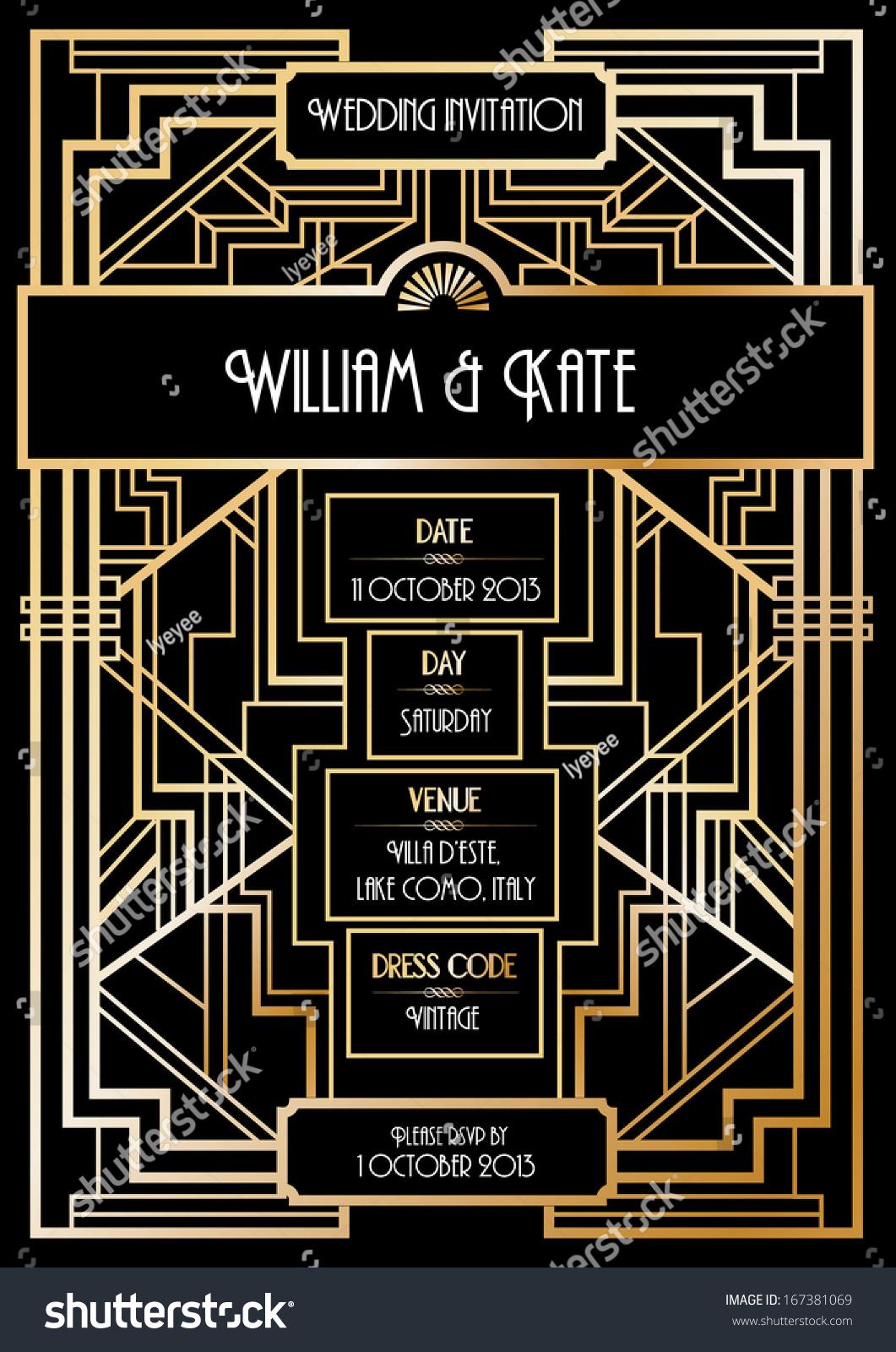 royalty free art deco wedding invitation card 167381069 stock