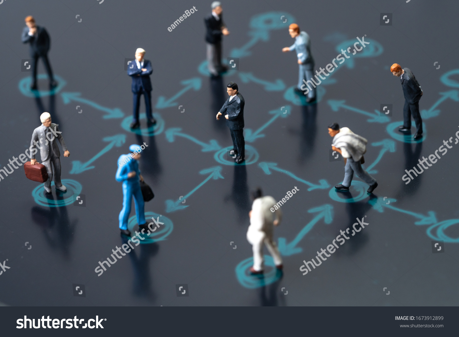 Social distancing, keep distance in public society people to protect COVID-19 coronavirus outbreak spreading concept, businessmen miniature keep distance away in the meeting with distant measure. #1673912899