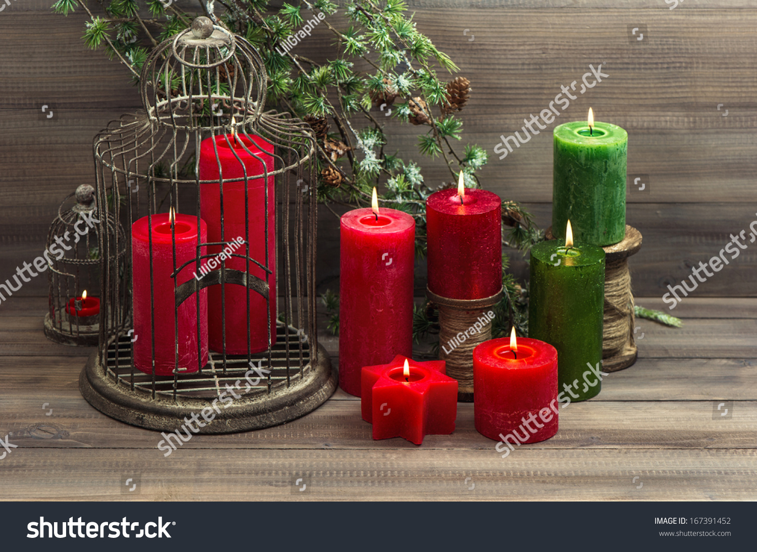 Vintage Christmas Decoration Birdcage Red Candles Stock Photo Edit
