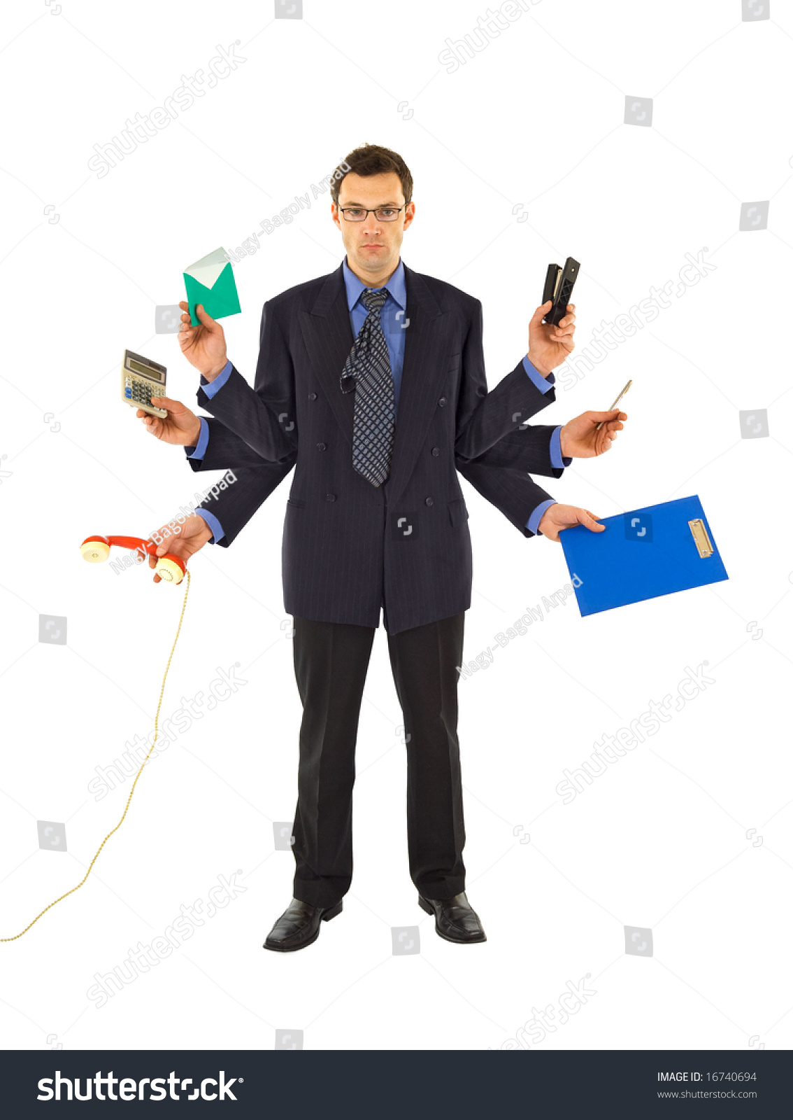 businessman office employee doing much work stock photo  businessman or office employee doing too much work isolated