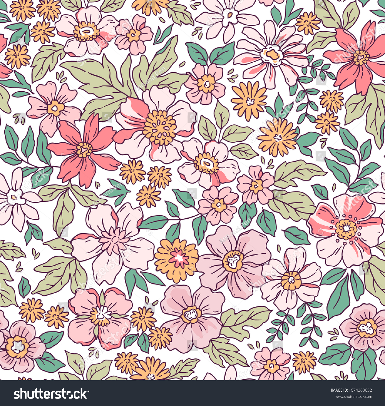 Elegant floral pattern in small hand draw flower. Liberty style. Floral seamless background for fashion prints. Vintage print. Seamless vector texture. Spring bouquet.