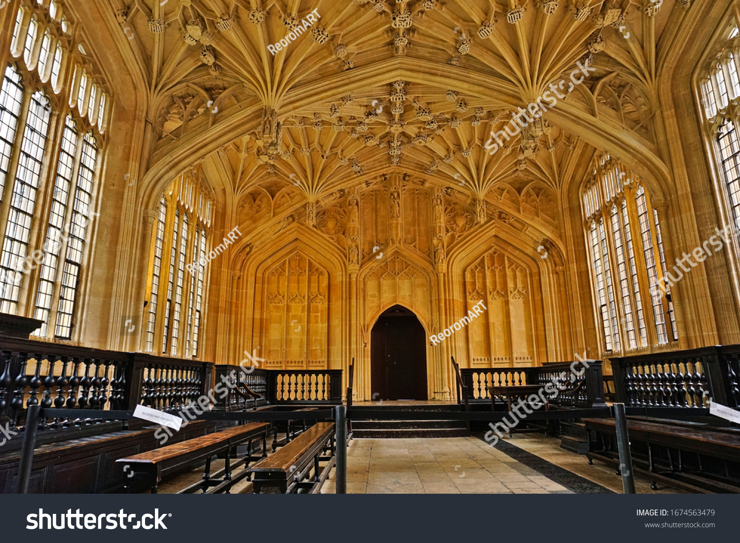 Divinity School, University of Oxford, Oxfordshire, England. Photo was taken on 01/08/2020. It is the oldest surviving purpose-built building for university use, specifically for lectures, oral exams
