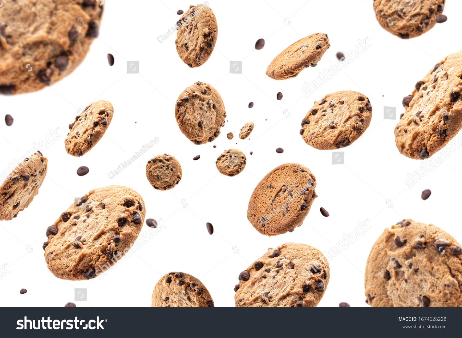 Collection of half chocolate chip cookies on white background #1674628228