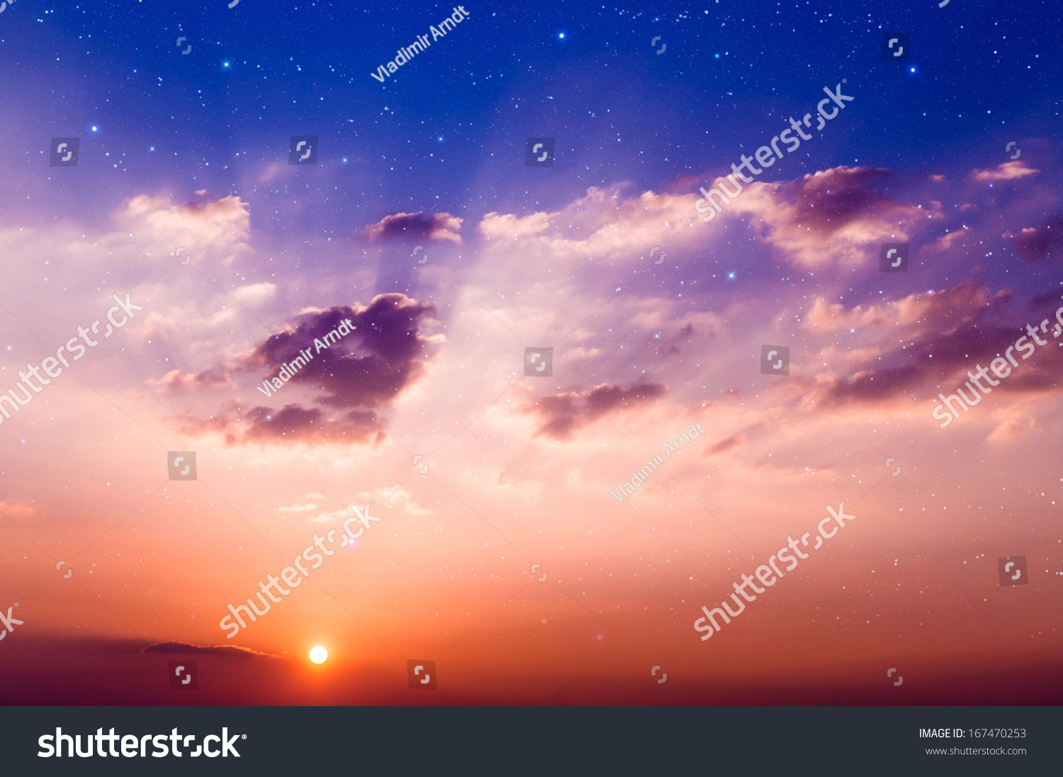 Sunset with sun, clouds and light rays. With stars on background.  #167470253