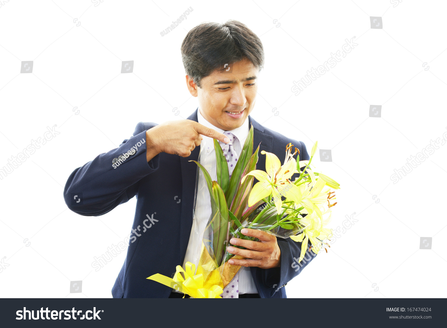 Man holding flower bouquet stock photo royalty free 167474024 man holding flower bouquet izmirmasajfo Image collections
