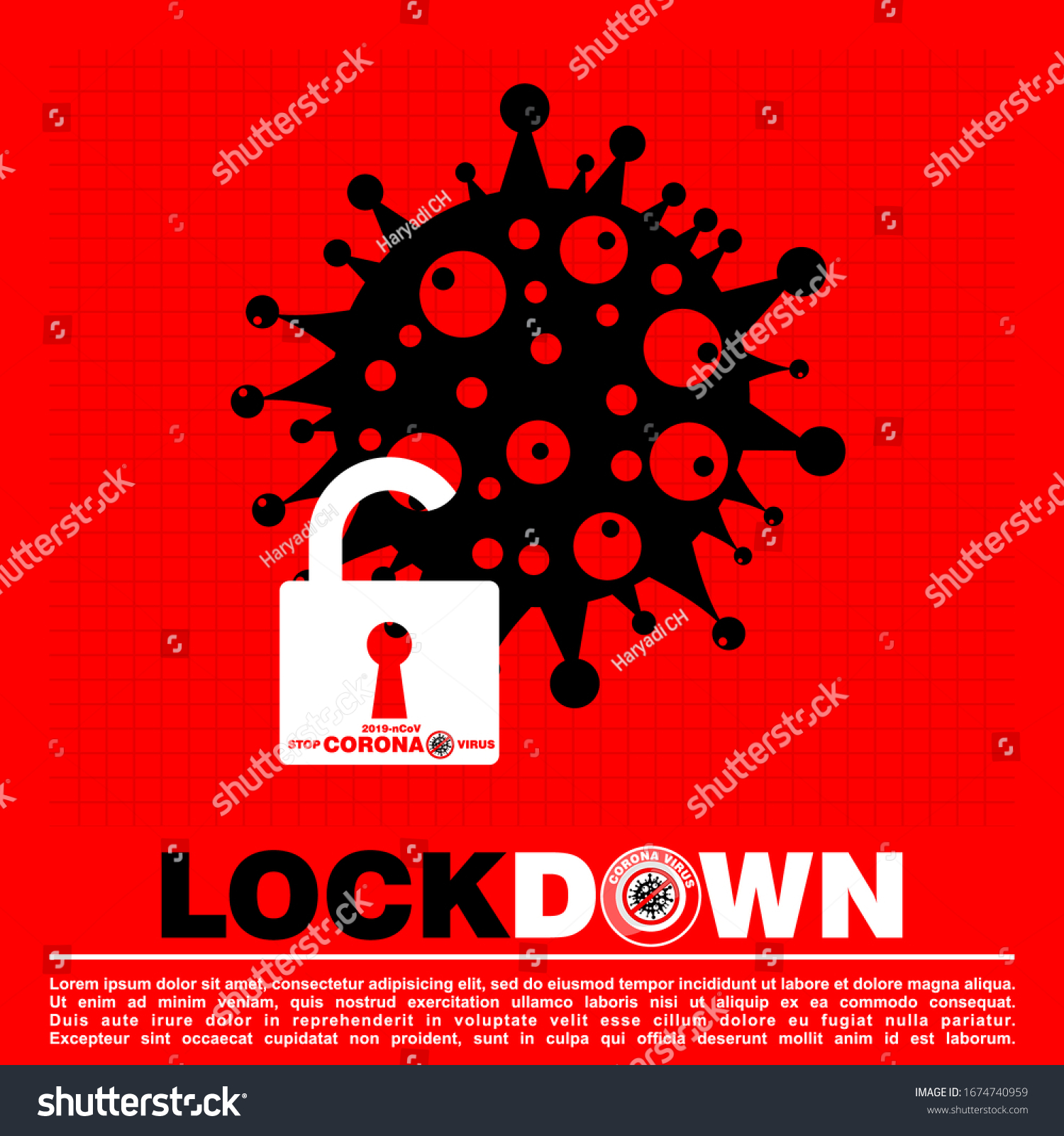 Lockdown Logo Symbol Global Corona Virus Stock Vector Royalty Free 1674740959